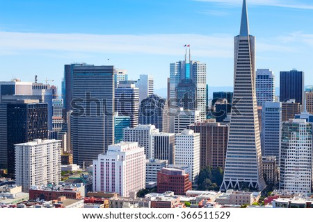 Panorama of San Francisco downtown skyscrapers