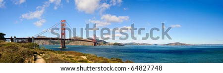 panorama of San Francisco's Golden Gate Bridge and the Bay