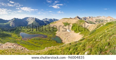 Panorama of San Juan Mountains scenery in Colorado. View of Taylor Lake from Indian Trail Ridge.