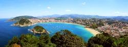 Panorama of San Sebastian bay in Spain