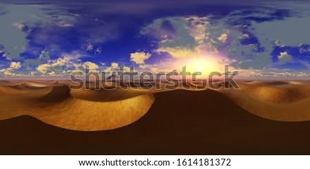 Panorama of sandy desert. Environment map. HDRI . equidistant projection. Spherical panorama. panorama 360. 3d rendering