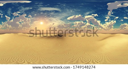 Panorama of sandy desert. Environment map. HDRI . equidistant projection. Spherical panorama. panorama 360. 3d rendering