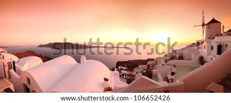Panorama of Santorini with windmill and sea-view in Greece #106652426