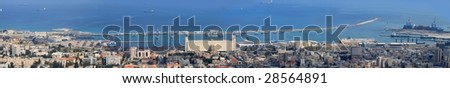 Panorama of seaport and coastal part of the city of Haifa in Israel