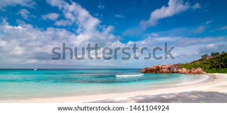Panorama of Seychelles. Tropical beach and turquoise ocean for relaxing. #1461104924