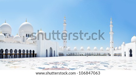Panorama of Sheikh Zayed mosque in Abu Dhabi. The third biggest mosque in the world