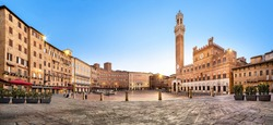Panorama of Siena, Italy. Piazza del Campo square with gothic town hall building and tower