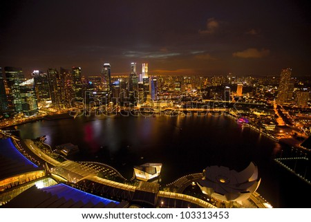 Panorama of Singapore city from roof Marina Bay hotel, in the night time.