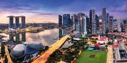 Panorama of Singapore city skyline at sunrise, Marina bay