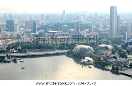 Panorama of Singapore from Marina Bay Sand Resort