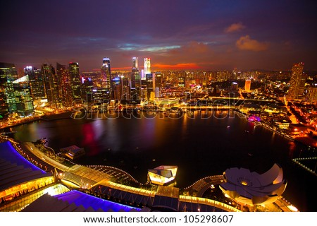 Panorama of Singapore from roof Marina Bay hotel, in the night.