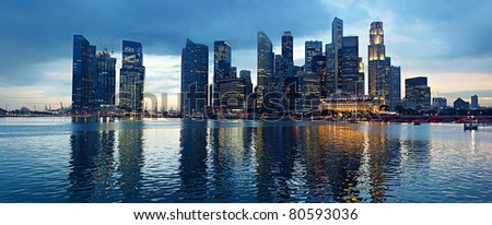 Panorama of Singapore in the beautiful evening
