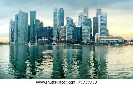 Panorama of Singapore in the beautiful sunset - stock photo