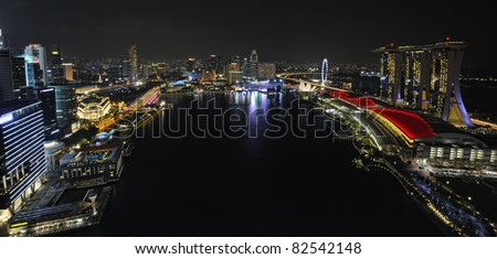 Panorama of Singapore river and skyline at night