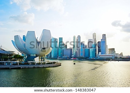 Panorama of Singapore. View from Helix bridge