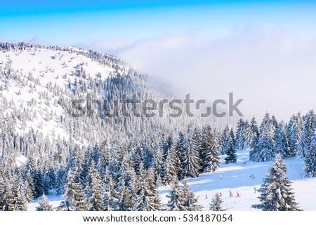 Panorama of ski resort, ski slope, people skiing, mountains covered with snow #534187054