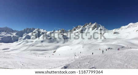 Panorama of ski slopes at Tignes, ski resort in the Alps, France