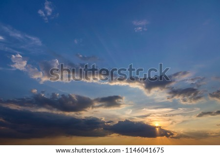 Panorama Of Sky At Sunrise Or Sunset Beautiful View Dark Blue Clouds Lit By