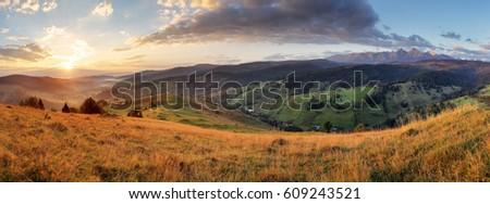 Panorama of Slovakia Tatras with meadow, Beilanske Tatry #609243521