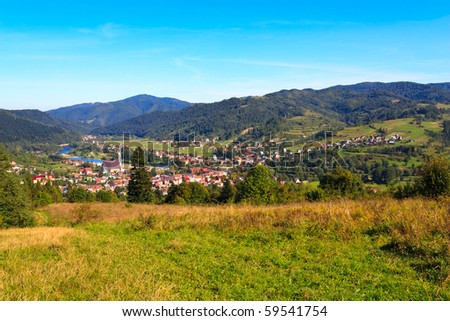 Panorama of small mountain town in polish carpathians.