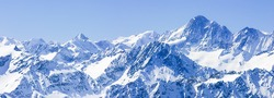 Panorama of Snow Mountain Range  Blue Sky from Titlis Peak, Switzerland