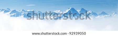 Panorama of Snow Mountain Range Landscape with Blue Sky from Pilatus Peaks Alps Lucern Switzerland