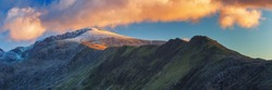 Panorama of Snowdon (Welsh: Yr Wyddfa, pronounced is the highest mountain in Wales, Uk.
