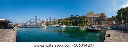 Panorama of Sorrento, gulf view. The province of Campania. Italy.