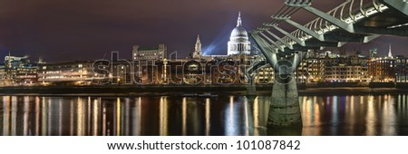 Panorama of St Pauls Cathedral and Millennium bridge London, Great Britain - stock photo
