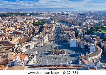 panorama of St.Peter Square from roof of St.Peter Basilica, Rome, Italy