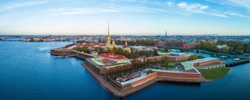 Panorama of St. Petersburg from a bird's eye view. Cities of Russia. Petropavlovskaya fortress. Rivers Of St. Petersburg. Neva River. Paul cathedral. The city center from a height. Travel to Russia.