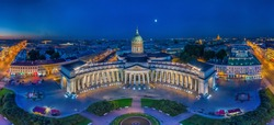 Panorama of St. Petersburg. Kazan Cathedral. Nevsky Prospekt in St. Petersburg. Russia. Evening Peter. Panoramas of Russian cities.