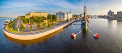 Panorama of St. Petersburg Museums of Russia. Cruiser