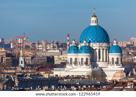 Panorama of St Petersburg overlooking the Trinity Cathedral