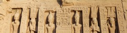 Panorama of statues at Nefertari temple in Abu Simbel, Egypt