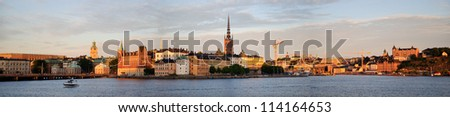 Panorama of Stockholm city at sunset