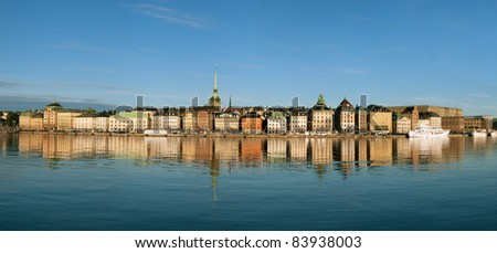 Panorama of Stockholm city, The Old Town (Gamla Stan)