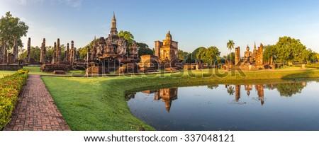 panorama of Sukhothai Historical Park, Sukhothai, Thailand #337048121