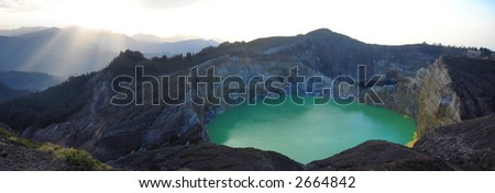Panorama of sunrise on the Kelimutu volcano in Flores island in Indonesia