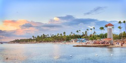 Panorama of sunset at Bayahibe beach, La Romana, Dominican republic
