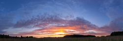 Panorama of sunset landscape of summer field with green grass in evening twilight under blue sky with clouds in bright sunset light, colorful panoramic view in sunset dusk with trees silhouette.