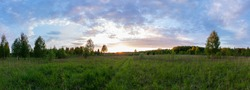 Panorama of sunset landscape of summer meadow with green grass in evening twilight under clouds on blue sky in bright sunset light colorful panoramic view of field in sunset dusk with trees silhouette