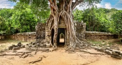 Panorama of Ta Som temple in complex Angkor Wat in Siem Reap, Cambodia in a summer day