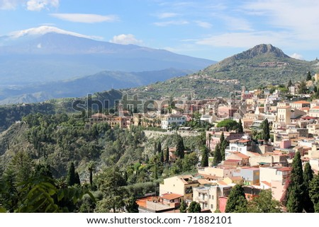 Panorama of Taormina - stock photo