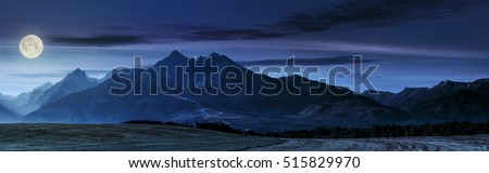 panorama of Tatra mountains in haze behind the forest and rural field at night in full moon light