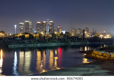 Panorama of Tel Aviv city and river at the night