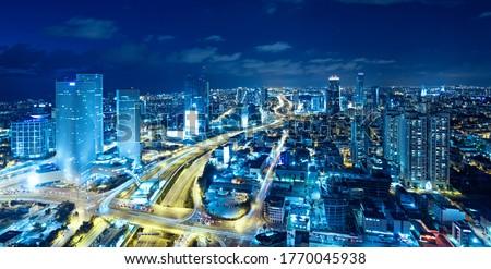 Panorama Of Tel Aviv Skyline At Night,  Tel Aviv Cityscape , Israel Stock fotó ©