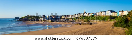 Panorama of  Tenby a walled seaside town in Pembrokeshire, West Wales, Uk.