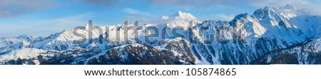 Panorama of the Alpine skiing resort in Austria Zillertal #105874865