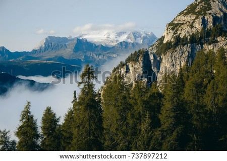 Panorama of the Alps in the early morning, mountain tops over clouds, Italy  #737897212